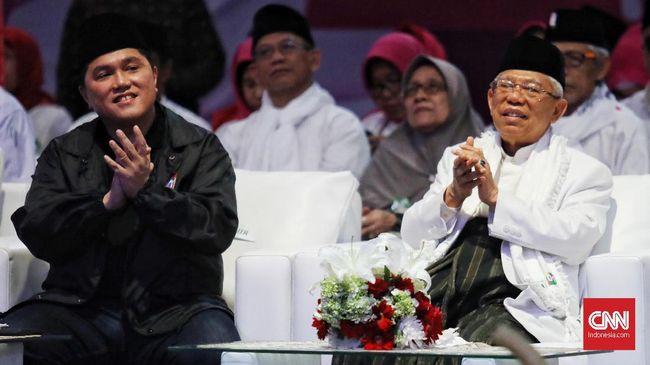 Menteri BUMN Erick Thohir dilantik sebagai Ketua Umum Masyarakat Ekonomi Syariah oleh Ketua Dewan Pembina Ma'ruf Amin.