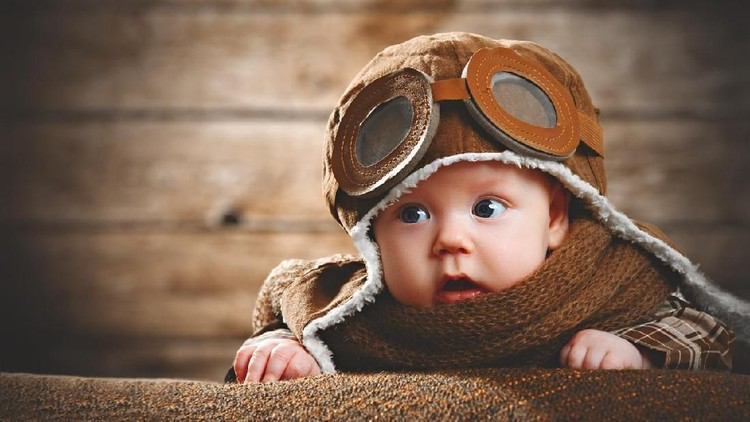 cute pilot aviator baby newborn in brown color