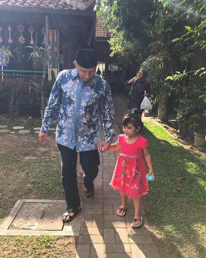 <p>Menyempatkan waktunya untuk sang cucu, Amien Ris terbang dari Jakarta ke Yogyakarta untuk ikut merayakan 'Grandfather day' dengan mengantar cucunya ke sekolah. Amien menggandeng tangan si kecil mulai keluar dari rumahnya. So sweet! (Foto: Instagram @hamienraisofficial)</p>