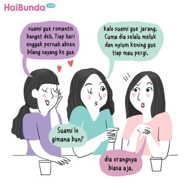 Ayah di komik ini punya cara tersendiri untuk menunjukkan rasa sayangnya ke Bunda. Kalau suami Bunda biasanya menunjukkan rasa sayang dengan cara apa nih?