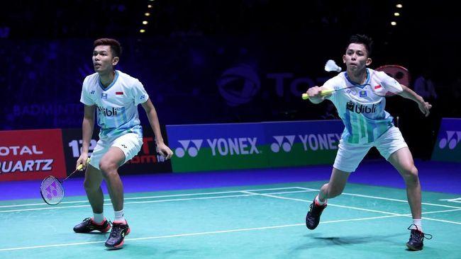 Pasangan Indonesia, Fajar Alfian/Muhammad Rian Ardianto berhasil meraih juara Swiss Terbuka 2019 di kategori ganda putra.