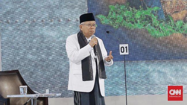 Cawapres Ma'ruf Amin menyatakan Jokowi tak hanya berhasil membangun infrastruktur darat, laut, udara tapi juga 'langit'.