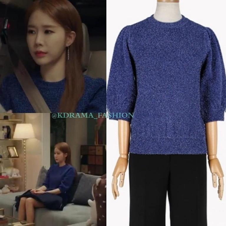 Berperan sebagai seorang sekertaris yang juga artis, Yoo In Na memang memiliki penampilan modis di drama Touch Your Heart. Intip saja penampilan Yoo In Na mengenakan sweater biru dalam episode 14.