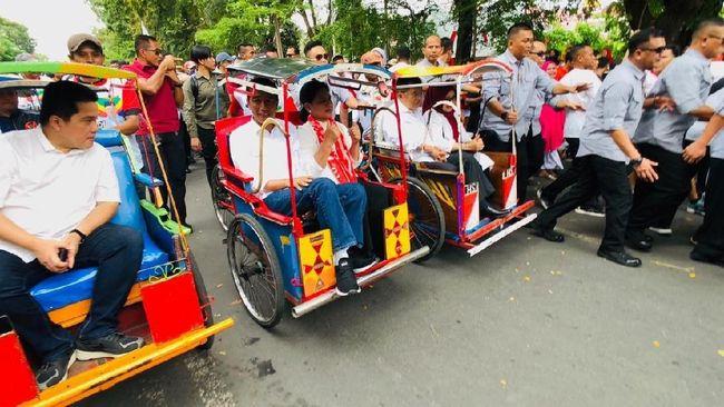 Capres petahana Joko Widodo beserta tim kampanye dan petinggi partai rencananya bakal diarak menggunakan puluhan becak menuju lokasi kampanye di Palembang.
