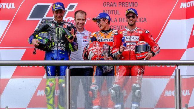 Pebalap Repsol Honda Marc Marquez cerita momen berdamai dengan Valentino Rossi usai balapan MotoGP Argentina 2019 di Sirkuit Termas De Rio Hondo.