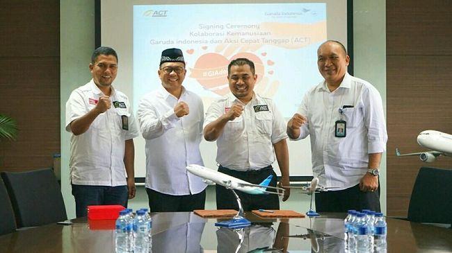 Garuda Indonesia dan ACT menjalin kerja sama kemanusiaan untuk menyalurkan bantuan terutama di lokasi terdampak bencana.