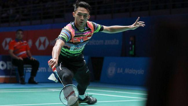 Jonatan Christie meraih kemenangan 21-14, 14-21, dan 21-16 atas pebulutangkis Wang Tzu Wei pada babak perdelapan final Selandia Baru Terbuka 2019.