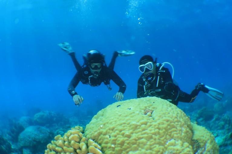 Aksi Marshall Sastra dan Syamsir alam saat menyelam di shipwreck ilegal fishing milik Vietnam dan lautan di Pulau Pahat.