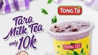 <p>Mau nyobain Taro Milk Tea dari Tong Ji dengan harga lebih murah? Langsung tunjukkan jari ungu ya, Bun!</p>