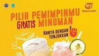 <p>Bakmi GM memberikan gratis minuman nih buat Bunda dan Ayah yang sudha menunjukkan jari ungu. Ada es teh dan fruit punch ya.</p>
