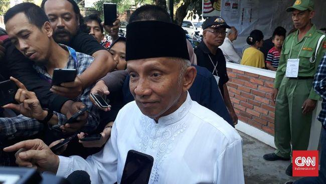 Di TPS tempat Amien Rais mencoblos, Paslon 01 Jokowi-Ma'ruf mendapatkan 158 suara sementara Paslon 02 Prabowo-Sandi mendapat 80 suara.