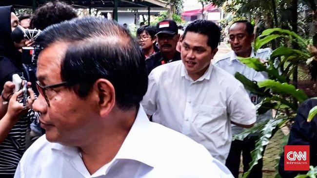 Pasca-pencoblosan, Ketua TKN Erick Thohir dan Anggota Dewan Pengarah TKN Pramono Anung mendatangi kediaman Ketua Umum PDIP Megawati Soekarnoputri.