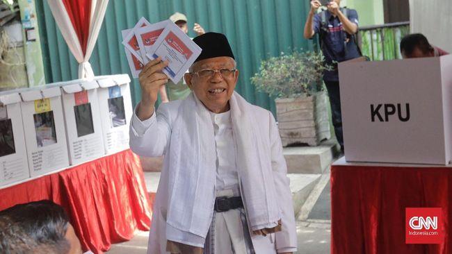 Ma'ruf berharap kondisi keamanan pasca pemilu berlajan kondusif. Ia berpesan pihak yang tidak menerima hasil pemilu menempuh jalur yang diatur Undang-Undang.