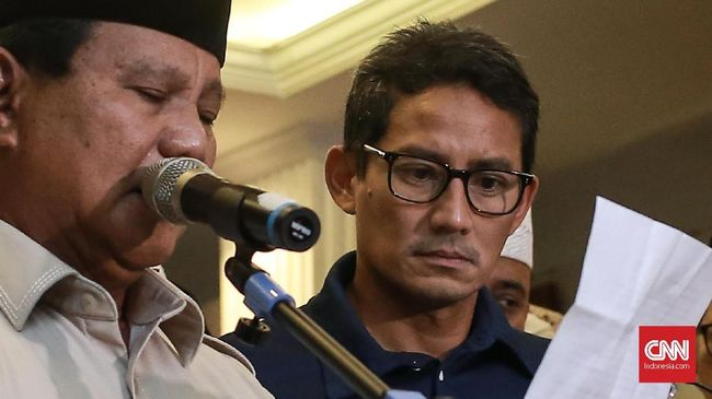 Anggota BPN, Andre Rosiade menyebut Prabowo sempat meminta Sandi hadir bersamanya dalam deklarasi kemenangan pekan lalu untuk membantah isu perpecahan.