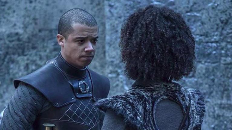 Grey Worm, pemimpin pasukan Unsullied, terllihat menemui Missandei sebelum melakoni perang besar melawan pasukan Night King.