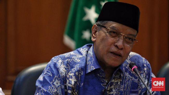 Ketua Umum PBNU KH Said Aqil Siroj bersama 13 Ormas Islam yang tergabung dalam Lembaga Persahabatan Ormas Islam (LPOI) mengimbau kepada seluruh umat muslim untuk menunggu hasil resmi perhitungan KPU terlebih dahulu, dengan tenang, sabar dan menghindari hal-hal yang inkonstitusional, Jakarta, 19 April 2019.
