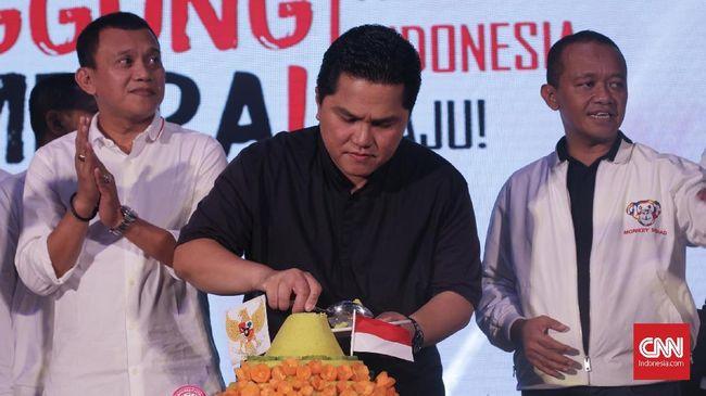 Dalam acara syukuran kemenangan itu, Ketua Umum TKN Erick Thohir menyampaikan Jokowi-Amin mengungguli Prabowo-Sandi dengan perolehan suara di atas 55 persen.