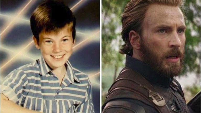 Siapa sangka kalau masa kecilnya Chris Evans sangat berbeda ketika ia dewasa, dari perubahan wajahnya ini Captain Americaterlihat semakin dewasa dan keren.
