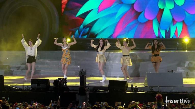 Penampilan mereka semakin meriah dengan lighting yang warna warni di atas panggung.