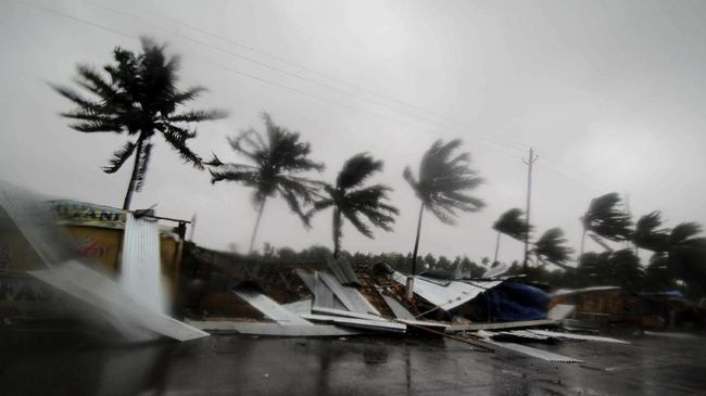 Street shops are seen collapsed due to gusty winds preceding the landfall of cyclone Fani on the outskirts of Puri, in the Indian state of Odisha, Friday, May 3, 2019. Indian authorities have evacuated hundreds of thousands of people along the country's eastern coast ahead of a cyclone moving through the Bay of Bengal. Meteorologists say Cyclone Fani was expected to make landfall on Friday with gale-force winds of up to 200 kilometers (124 miles) per hour likely starting Thursday night. It warned of