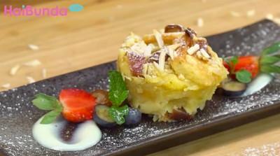 Menu Buka Puasa: Manisnya Kurma Almond Bread Pudding