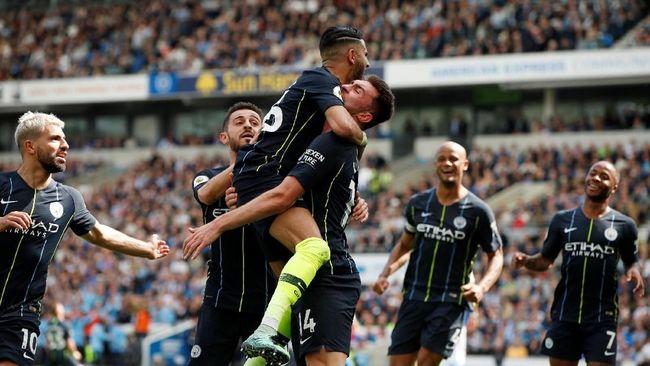 Manchester City berhasil jadi juara Liga Inggris musim 2018/2019 setelah menang 4-1 atas Brighton & Hove Albion