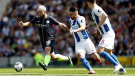 Manchester City Memimpin 2-1 Atas Brighton di Babak Pertama