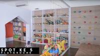 Memiliki anak-anak yang aktif, Teuku Wisnu dan Shireen Sungkar sengaja membuat <em>play room</em> tempat bermain mereka. <em>Play room</em> ini dilengkapi dengan <em>wall climbing</em> dan rak untuk menyimpan mainan. (Foto: YouTube The Sungkars Family)