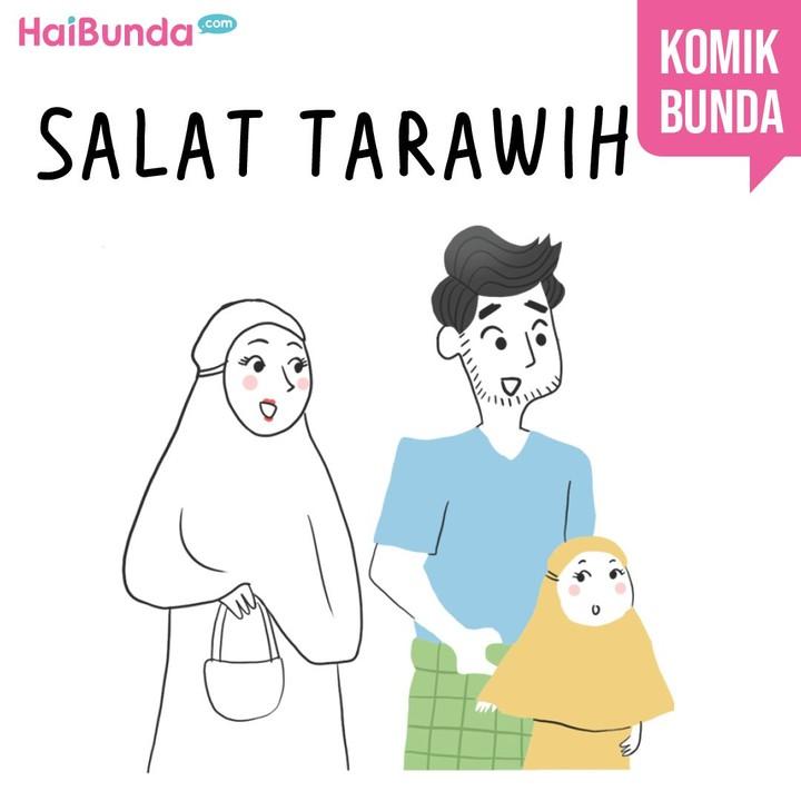 Selalu ada cerita di keluarga bunda di komik ini dalam perjalanan pulang salat Tarawih. Apa cerita keluarga Bunda setelah pulang tarawih?