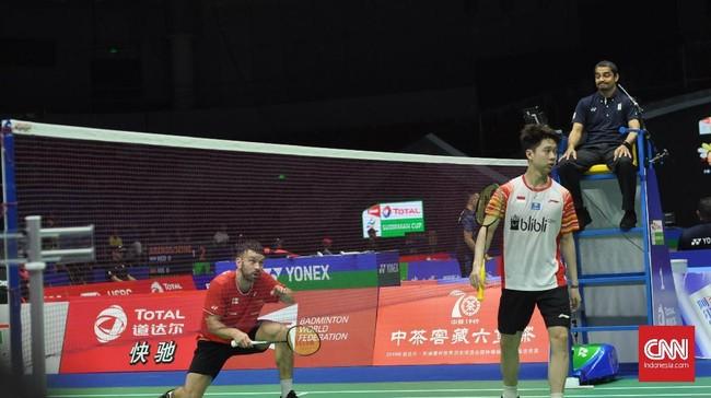 Indonesia memulai Piala Sudirman 2019 dengan meraih kemenangan 4-1 atas Inggris pada laga pertama Grup 1B di Nanning, China, Minggu (19/5).