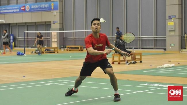 Tim Indonesia menggelar latihan di Guangxi Sports Center, Senin (20/5), sebagai persiapan menghadapi Denmark di laga kedua Grup 1B Piala Sudirman 2019.