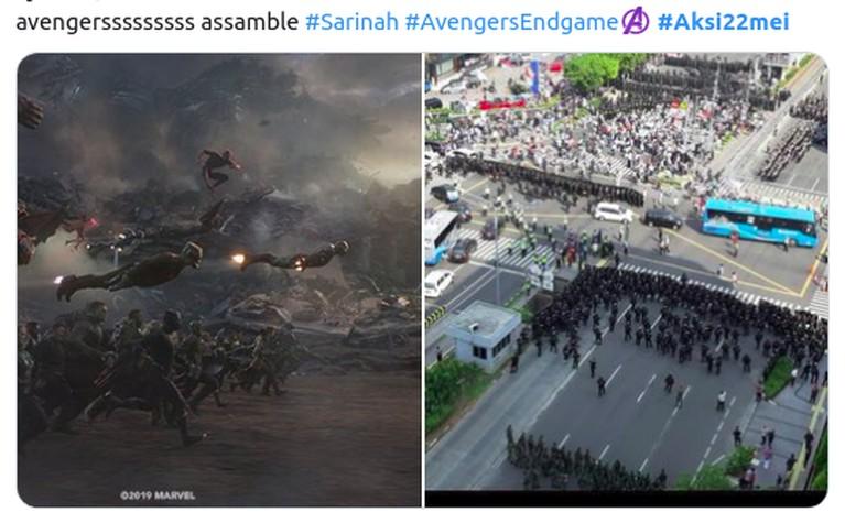 Ada-ada saja ulah netizen dengan membuat meme kocak seakan para Avengers akan membantu kepolisian mengamankan aksi 22 Mei.