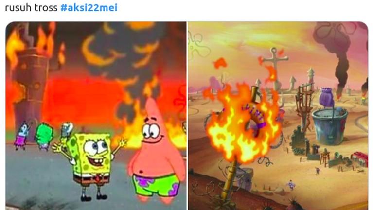 Meme kocak yang menggambarkan kericuhan aksi 22 Mei dengan gambar adegan di film kartun Spongebob.