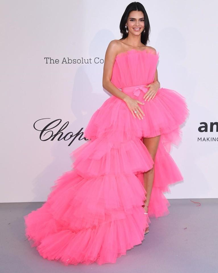 Kendall Jenner, berhasil menyita perhatian saat tampil di karpet merah Festiva Film Cannes 2019. Ia mengenakangaun berwarna pink cerah dengan renda bertumpuk di bagian bawah. Bagian depannya di buat pendek dan memamerkan kaki jenjangnya.