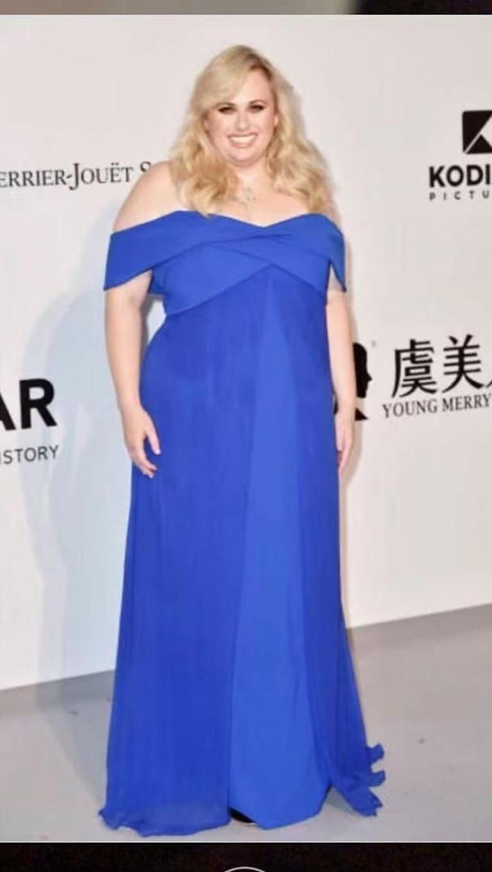 Rebel Wilson,mengenakan gaun berwarna biru cerah yang memperlihatkan bagian bahunya. Gaun ini tampak cantik dan membuat Rebel bersinar.