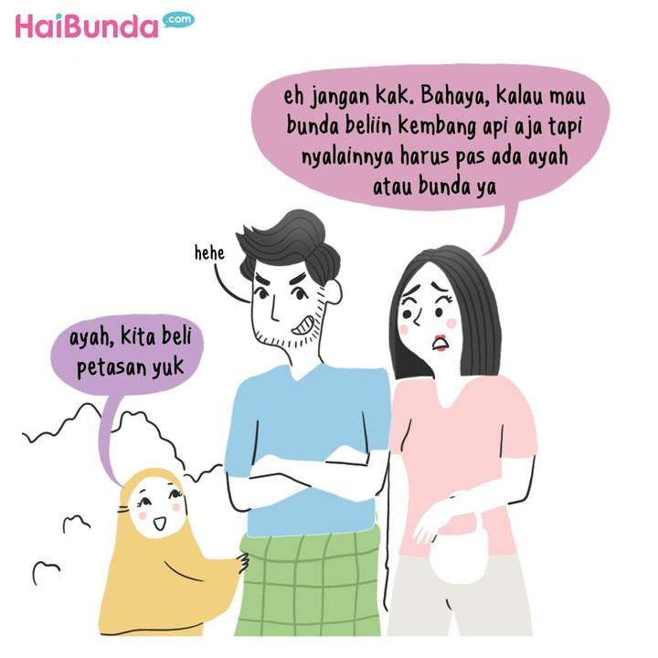 Di keluarga Bunda di komik ini, ada cerita tentang petasan yang biasa dinyalakan anak-anak. Apa cerita tentang petasan di lingkungan rumah Bunda?