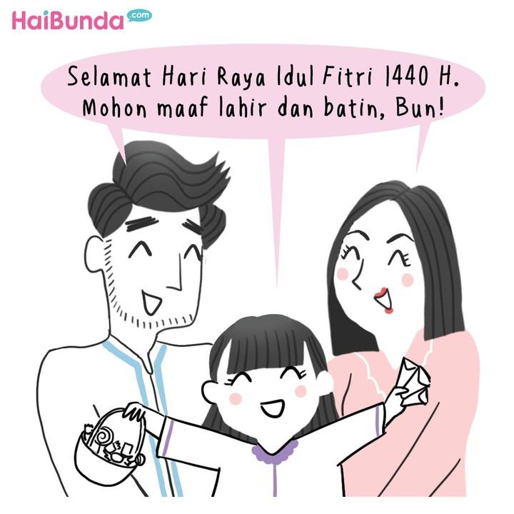 Begini cerita saat Lebaran di keluarga Bunda di komik ini. Di keluarga Bunda, ada cerita apa saat Lebaran? Bagikan di kolom komentar yuk.