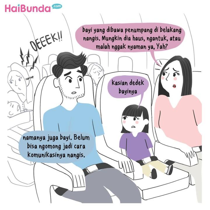 Ini pengalaman Bunda sekeluarga saat naik pesawat bareng penumpang yang membawa bayi. Kalau Bunda dan keluarga, punya pengalaman apa?