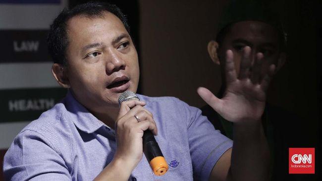 Tim Kampanye Nasional (TKN) Jokowi-Ma'ruf, Taufik Basari memaparkan pandangannya saat diskusi akhir pekan dengan tema Mahkamah Keadilan Untuk Rakyat di Jakarta, Sabtu, 15 Juni 2019. CNNIndonesia/Safir Makki