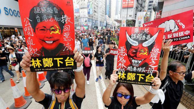 Mahasiswa mengaku tak puas dengan pernyataan Pemimpin Eksekutif Hong Kong, Carrie Lam, yang mengklaim bahwa RUU ekstradisi sudah mati.