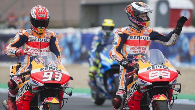 Video detik-detik Jorge Lorenzo Andrea Dovizioso, Maverick Vinales, dan Valentino Rossi di MotoGP Catalunya 2019, tersebar di dunia maya.