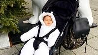 <p>Kelelahan diajak jalan-jalan, Baby Kai langsung pules tidur di stroller. Kalau kata Mama Titi Kamal kaya Polar Bear. He-he-he. (Foto: Instagram @titi_kamall)</p>