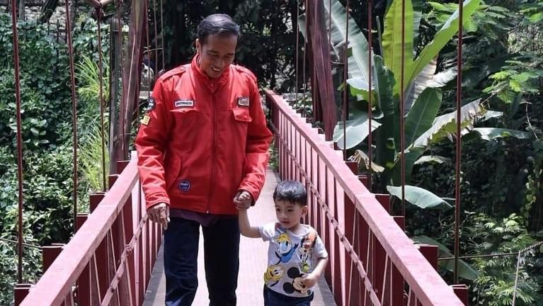 Potret Jokowi dan Ethes saat tengah berjalan-jalan di kebun raya saat akhir pekan. Sambil bergandengan tangan, keduanya melewati jembatan merah.