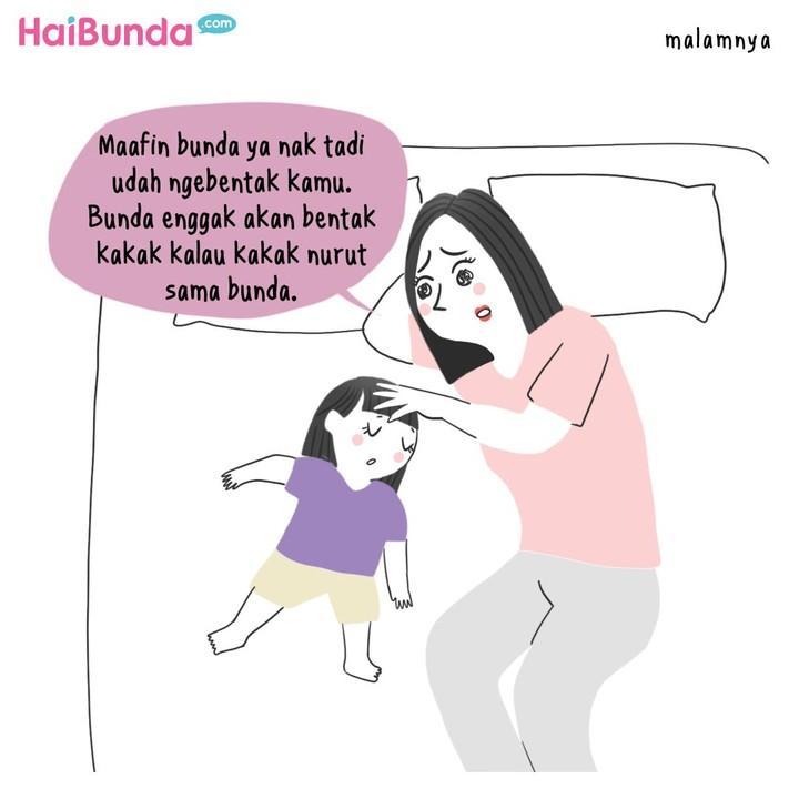 Penyesalan dirasakan bunda di komik ini setelah membentak kakak. Bagi Bunda, apa hal yang dilakukan ke anak dan membuat Bunda merasa bersalah serta menyesal?