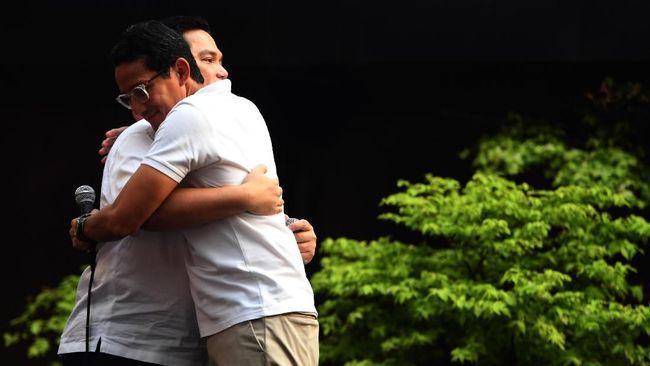 Menteri BUMN Erick Thohir berkelakar bahwa ia akan mendukung pencalonan Sandiaga Uno dengan menjadi timses pada pemilu 2024.