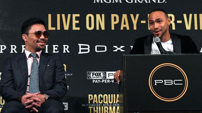 Petinju veteran Manny Pacquiao bersiap menghadapi Keith Thurman di MGM Grand Garden Garden Arena, Nevada, Amerika Serikat.