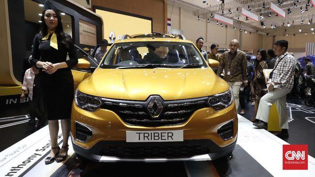 Mobil Triber Renault yang dipamerkan Pameran otomotif terbesar di Indonesia, GAIKINDO Indonesia International Auto Show (GIIAS) 2019 di Indonesia Convention Exhibition (ICE), BSD City, Serpong, Tangerang, pameran tahunan ini digelar selama 11 hari pada 18 hingga 28 Juli 2019. CNNIndonesia/Safir Makki