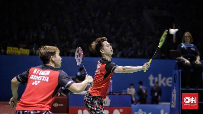 Kevin Sanjaya Sukamuljo/Marcus Fernaldi Gideon lolos ke final Indonesia Open 2019 usai mengalahkan ganda China, Li Junhui/Liu Yuchen dengan 21-9 dan 21-13.