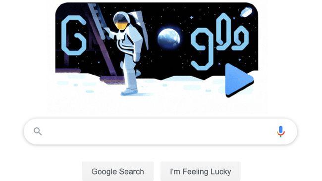 Google menampilkan doodle interaktif proses pendaratan misi Apollo 11 ke Bulan pada 50 tahun silam.