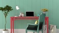 Desain ruang kerja berikut sangat manis. Warna merah menambah suasana jadi lebih cerah ceria. (Foto: iStock)